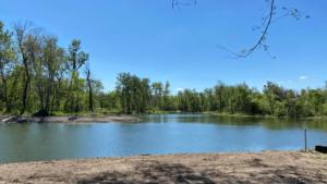 Overlooking a lagoon